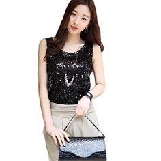 Fanala Sequin Sparkle Glitter tank top Vest T-Shirt blouses
