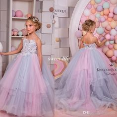 Colorful Wedding Party Girls' Dresses Lace Appliques Beading Sequins Ball Gown with Train Colorful Little Flower Girls Dresses Arabic 2017 Flower Girl Dresses Cheap First Communion Dresses Online with $85.0/Piece on Sweet-life's Store | DHgate.com