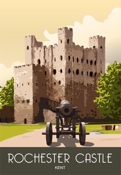 Modern Picture of Rochester Castle and gardens drawn by Nigel Wallace Travel English, British Travel, Posters Uk, Railway Posters, Rochester Castle, Castle Painting, Vintage Travel Posters, Poster Vintage, New Poster
