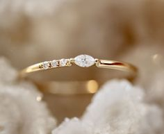 Asymmetrical Marquise Stacking Ring