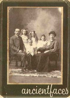 """""""Family picture taken about 1903, before the last daughter, Pauline Lucille, was born."""" People: Charles Hollingsworth at 35, Bessie Lela Hollingsworth at 10, Hazel Josephine Hollingsworth at 9, Hallie Fern Hollingsworth at 6, Clinton Leroy Hollingsworth at 4, and Lucy Lela Hollingsworth at 26.  (Image:  Contributed by Shirley Patterson on December 13, 2002; """"Photo taken on 1903"""")"""