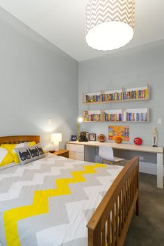 Sam's very on-trend colour choice of French grey for his bedroom is interpreted in Resene Quarter Stack. Photo by Mark Heaslip.