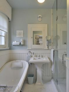 White Beadboard bathroom - Cottage - bathroom - Benjamin Moore Gossamer Blue Love this blue. Maybe for main bath upstairs? Cottage Bathroom Design Ideas, Cottage Style Bathrooms, Eclectic Bathroom, Cottage Design, Bathroom Styling, Bathroom Ideas, Cozy Bathroom, Bathroom Renovations, Bathroom Mirrors