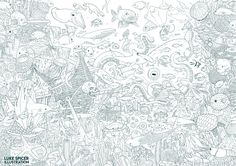 Under sea illustration I drew for Little Door Collective's colouring book. I lost count but I think there's over 150 sea creatures in the image!