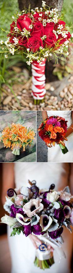 Ramos de novia con colores intensos. Chic wedding bouquets