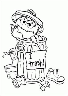 "Coloring page of Oscar the Grouch and ""I love Trash"" sign."