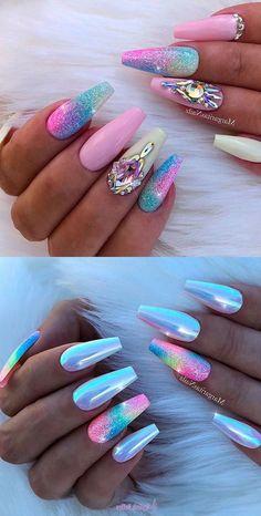 unicorn manicure, cute nail designs, colourful nail polishes, chrome nail polish, two different types of manicure Pretty Nail Colors, Pretty Nail Designs, Nail Art Designs, Bright Colors, Chrome Nails Designs, Unicorn Nail Powder, Unicorn Nail Art, Cute Acrylic Nails, Cute Nails