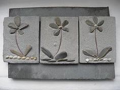 Set Of Three Delicate Flower Tiles - art & decorations