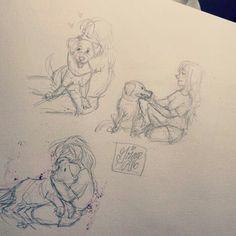 Love Drawings, Art Drawings, Tatoo Dog, Kristina Webb, Amor Animal, Family Drawing, Farewell Gifts, Desenho Tattoo, Girl Sketch