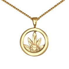 Yellow gold Waterlily Pendant. Gee Woods Bespoke. www.geewoods.com