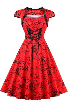 fashion trends:Lace Up Floral Print Pinup Dress
