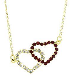 Gargantilha folheada a ouro e pingente de strass em forma de coração duplo