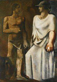 Mario Sironi (Italian, 1885-1961), Il lavoro [Work], c. 1932-33. Oil on canvas, 200 x 140 cm.