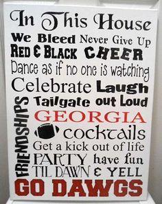 Georgia Bulldogs 18 x 24 Typography Canvas Georgia Girls, Georgia On My Mind, Georgia Bulldogs Football, University Of Georgia, Down South, Fun Facts, House, Hermes, Sayings