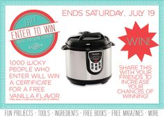 Win a FREE Pressure Cooker or bottle of vanilla. Click to enter: https://www.preparedpantry.com/blog/Prepared+Pantry+Pressure+Cooker+Giveaway