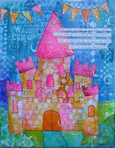 Be Bold: Mixed Media Castle featuring Gelli Plate prints, Made by Nicole