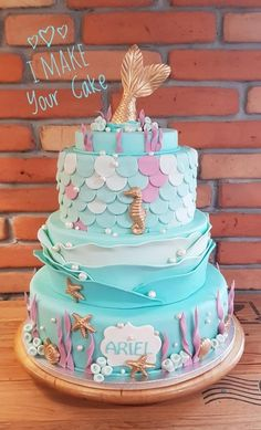 Baptism of Ariel - cake by Sonia Parente Little Mermaid Birthday Cake, Little Mermaid Cakes, Beautiful Cake Designs, Beautiful Cakes, Ariel Cake, Party Cakes, Cupcake Cakes, Cake Decorating, Ideas