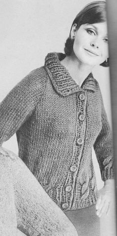 PDF Ladies Cable Bordered Cardigan Knitting Pattern, Women's Knit Cardigan, Cable Raglan Style, Vintage 1960's, PDF Download