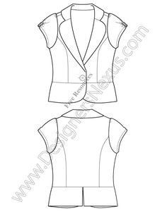 V53 Free Illustrator Blazer Flat Sketch - free download in Adobe Illustrator or high-quality bitmap format at www.designersnexus.com #fashionflats #flatsketch #fashionCAD #technicalflats #flatdrawing #fashionsketch