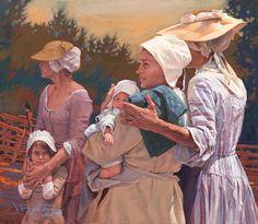 "John Buxton painting - Pray for our Boy's Safe Return 13"" x 10"" oil"