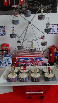 World Thinking Day ideas: British Themed London party - London Eye cupcakes London Theme Parties, British Themed Parties, Uk Parties, British Party, London Party, London Cake, Tea Party Theme, Birthday Party Themes, Theme Anglais