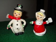 Vintage 1950's Christmas Man and Women Salt and Pepper Shakers | eBay