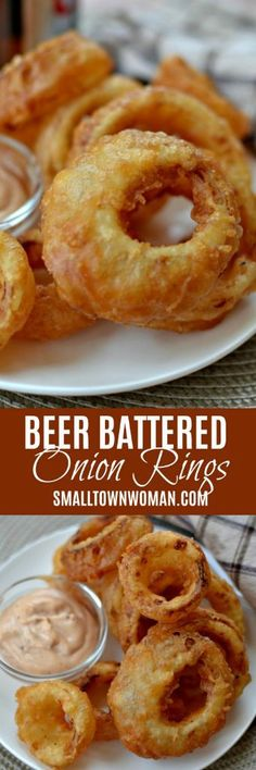 These Beer Battered Onion Rings with Dipping Sauce are the most delicious way to prepare onion rings. The beer batter can be prepared in just a few minutes. Appetizers For Party, Appetizer Recipes, Beer Batter Recipe, Beer Battered Onion Rings, Recipe Fr, Onion Recipes, Aloo Recipes, Vegetable Dishes, Food Dishes