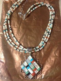Sterling Silver Turquoise/Onyx/Coral/Pearl Necklace Jay King Mine Finds (still need earrings!)