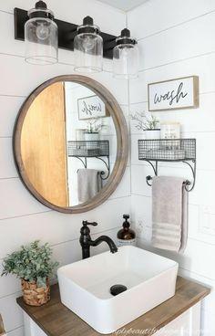 Downstairs Bathroom, Bathroom Renos, Bathroom Interior, Remodel Bathroom, Wood Counter Bathroom, Bathroom Small, Boho Bathroom, Bathroom Sink Decor, Farmhouse Sink In Bathroom