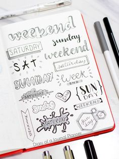 Week and weekend bullet journal headers, bullet journal headers banners, bullet journal headers hand lettering, Bullet Journal Inspo, Bullet Journal Titles, Bullet Journal Banner, Bullet Journal Notebook, Bullet Journal Aesthetic, Bullet Journal Fonts Hand Lettering, Diy Cahier, Bullet Journal Headers And Banners, Tittle Ideas