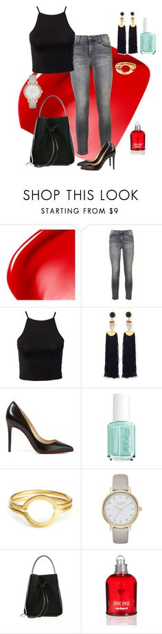 """""""Untitled #89"""" by tammy-stacey ❤ liked on Polyvore featuring NARS Cosmetics, Current/Elliott, NLY Trend, Lizzie Fortunato, Christian Louboutin, Essie, Kate Spade, 3.1 Phillip Lim and Cacharel"""