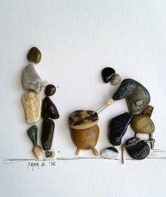 """ bake chestnuts"" pebble art by Hara"