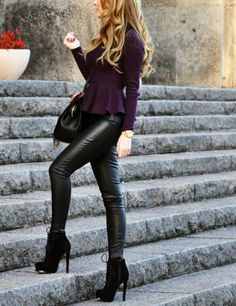 Leather pants, boots, peplum sweater