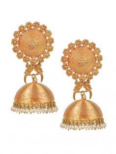 Pakshi Temple Rose-Gold Jhumka Earrings