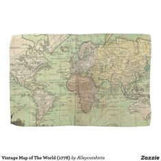 Vintage Map of The World (1778) Kitchen Towels