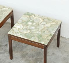Exclusive pair of side tables in rosewood and marble onyx