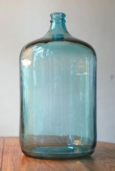 Vintage Large Blue Glass Jug Bottle by theestateofthings on Etsy