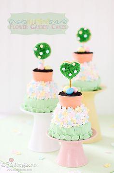 Mini Tiered Flower Garden Cakes by ©Bakingdom