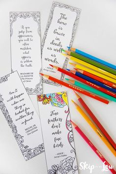 Dowload, print, cut and color these free coloring bookmarks with inspirational quotes. So easy to make a great handmade bookmark.