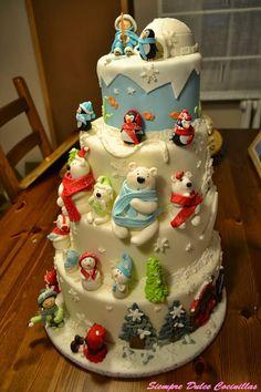 Tarta Blanco invierno fondant.  Mi tarta. La que me hizo ganar el primer premio en Madrid Fashion Cake!!!