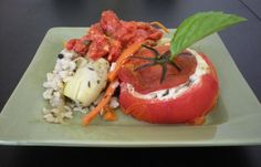 Kate's Guide to Your Inner Foodie: Three Courses of French Vegetarian Goodness--Braised Baby Artichokes with Tomato Coulis and Brown Rice + Chilled Zucchini Soup + Goat Cheese Stuffed Roasted Tomato + Mocha Pots De Creme