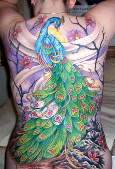 peacock back tattoo | Almost there! All we have left are the feathers and rocks... then a ...