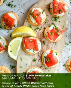 Smoked Salmon Bites with Mustard Crème Fraîche photo via @jalanesulia. ~~~~~~~~~~~~~~~~~~~~~ Enter the Put It On A RITZ® Sweepstakes for your chance to win a $1000 Walmart gift card or one of 20 RITZ® Snack Prize Packs here: https://www.facebook.com/SoFabChats/app_115462065200508?ref=ts. Ends at 11:59pm ET on Sunday, May 5, 2015. AD Put It On A RITZ® Sweeps AD