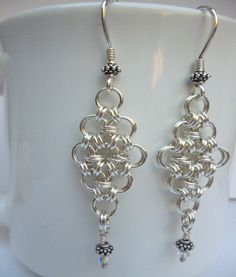 Chainmaille Earrings with Swarovski Crystals and Bali by DWorks