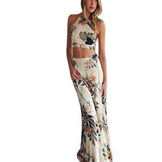c46a3606f13e4 Womens Dress Laimeng Boho Halterneck Long Maxi Evening Party Dress Beach  Dress M >>>