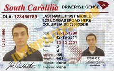 This is South Carolina (USA State) Drivers License PSD (Photoshop) Template. On this PSD Template you can put any Name, Address, License No. DOB etc and make your personalized Driver License.  You can also print this South Carolina (USA State) Drivers License from a professional plastic ID Card Printer and use as per your requirement.