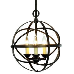 Miseno MLIT155389 3-Light Cage Orb Chandelier Oil Rubbed Bronze Indoor Lighting Chandeliers Globe