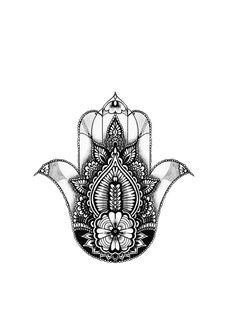 Hamsa hand tattoo design for upper back for my beautiful friend Kate, by LRW #hamsa #hamsahand #tattoodesign