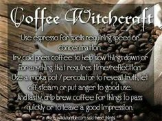 Coffee in Witchcraft WitchDownunder Wiccan Witch, Magick Spells, Witchcraft Books, Wiccan Magic, Green Witchcraft, Kitchen Witchery, Hedge Witch, Herbal Magic, Witch Spell