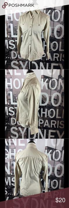 Vintage Diane von Furstenberg khaki shirt Vintage but still perfect for today. Excellent condition. Size 6. Length 25 Bust 17 Waist 16.5 Arms 22 Diane von Furstenberg Tops Button Down Shirts